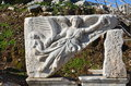 Turkey izmir bergama in ancient greek hellenistic woman sculpture this is a real civilization baths marble processing stone Stock Image