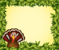 A turkey in a leafy frame border illustration of Royalty Free Stock Photos