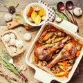Turkey leg roasted with corn Royalty Free Stock Photo