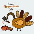 Turkey love pumpkin, Happy thanksgiving day cartoon illustration
