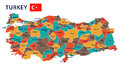 Turkey - map and flag - illustration