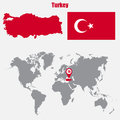 Turkey map on a world map with flag and map pointer. Vector illustration