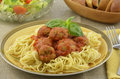 Turkey meatball spaghetti dinner Royalty Free Stock Photos