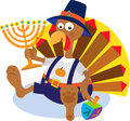 Turkey and menorah cartoon holding a eps Stock Photos