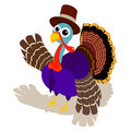 Turkey in Pilgrim Hat Stock Photo