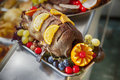 Turkey on plate in poultry shop Royalty Free Stock Image