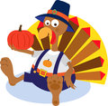 Turkey and pumpkin cartoon holding a eps Stock Photo