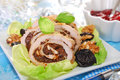 Turkey roulade with prune and walnuts for christmas slices stuffed dinner Stock Images