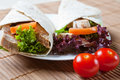 Turkey, salad, and stuffing wraps Stock Images