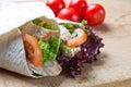 Turkey, salad, and stuffing wraps Royalty Free Stock Photo