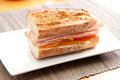 Turkey sandwich with heirloom tomato on baguette Royalty Free Stock Photo