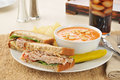 Turkey sandwich with tomato bisque Stock Photography