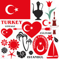 Turkey set isolated objects on white background vector illustration eps Stock Photography