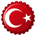 Turkey stylized flag on bottle cap Stock Images