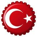 Turkey stylized flag on bottle cap Royalty Free Stock Photo