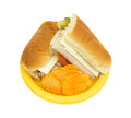 Turkey sub sandwich with chips Royalty Free Stock Photo