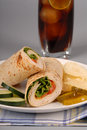 Turkey and swiss cheese wrap Royalty Free Stock Images