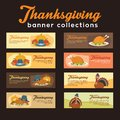 Turkey Thanksgiving Banner Collection With Ornament and Foods