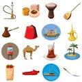 Turkey travel icons set, cartoon style
