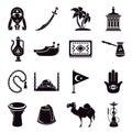Turkey travel icons set, simple style