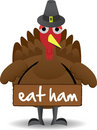 Turkey wearing eat ham sign anti-turkey Stock Images