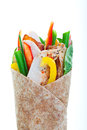 Turkey wrap healthy whole wheat on a white background Stock Images