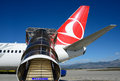 Turkish airlines plane ready for boarding is welcome is written on the ladder the blue sky is free your text Royalty Free Stock Photo