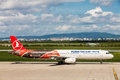 Turkish airlines preparing to take off at zagreb airport croatia euroleague airbus a on pleso in Royalty Free Stock Images