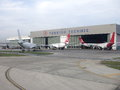 Turkish airlines technic hangar for the maintenance division at istanbul ataturk airport Stock Photography