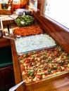 Turkish Appetizer Eggplant / Aubergine Salad, Yogurt Haydari and Fresh Salad Served on the Boat. Royalty Free Stock Photo