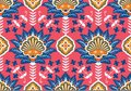 Turkish, Arabic, African, Islamic Ottoman Empire`s era traditional seamless ceramic tile, vector floral pattern Royalty Free Stock Photo