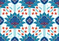 Turkish, Arabic, African, Islamic Ottoman Empire`s era traditional seamless ceramic tile, wallpaper vector floral Royalty Free Stock Photo