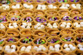 Turkish baklava assortment backgrounds and textures of traditional pastry various nuts filling selective focus food abstract Royalty Free Stock Image