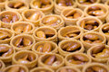 Turkish baklava backgrounds and textures traditional pastry almond nuts filling selective focus food abstract Stock Photography