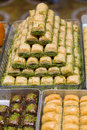 Turkish baklava in pastry shop istanbul turkey Stock Images