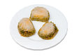 Turkish baklava plate with isolated over white background Stock Image