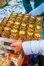 Turkish baklava typical pastries on sale at the market in istanbul Royalty Free Stock Photography