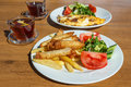 Turkish breakfast with borek Royalty Free Stock Photo