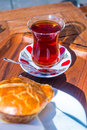 Turkish cay tea traditional served in the typical glass Royalty Free Stock Photography