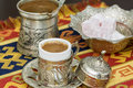 Turkish coffee with coffee pot and turkish delights Royalty Free Stock Photo