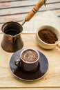 Turkish coffee concept on a woodn surface Stock Photos