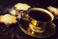 Turkish coffee and cookies traditional in vintage cups Stock Photography