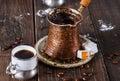 Turkish coffee over dark wooden background Royalty Free Stock Photo