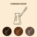 Turkish coffee pot. Cezve icon.