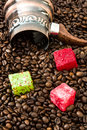 Turkish coffee pot and turkish delights Royalty Free Stock Photo