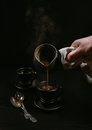 Turkish coffee pouring moment Royalty Free Stock Photo