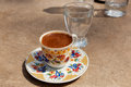 Turkish coffee at the street cafe trditionally served under light sun istanbul turkey Royalty Free Stock Photography