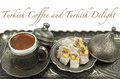 Turkish coffee and turkish delight with traditional cup and tray sample text on white background Stock Images