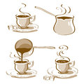 Turkish coffee vector drawn in different ways and pot drawings Royalty Free Stock Photography