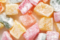 Turkish colorful delight macro food background or texture Royalty Free Stock Photos